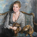 Portrait of Julia with Dogs