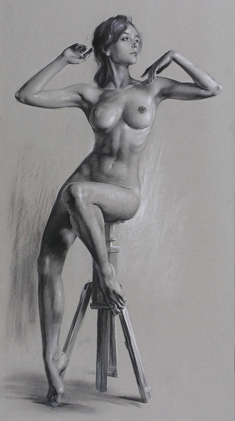 Sitting nude model<br />