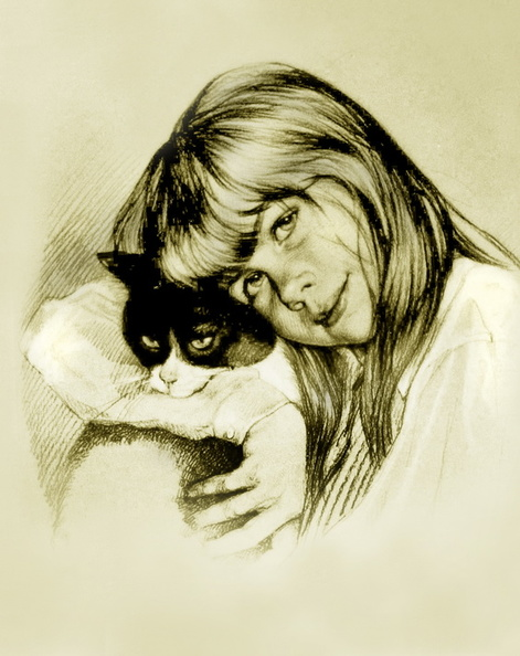 Portrait of a Girl with a Cat<br />