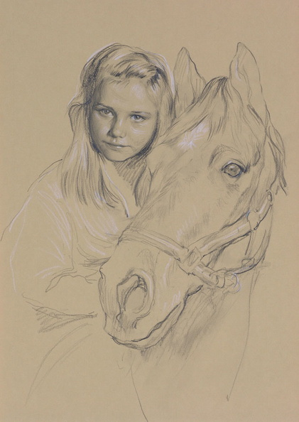 Pencil sketch of a girl with a horse head<br />
