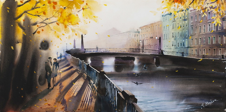 Autumn in the city (Alarchin Bridge, St Petersburg)<br />